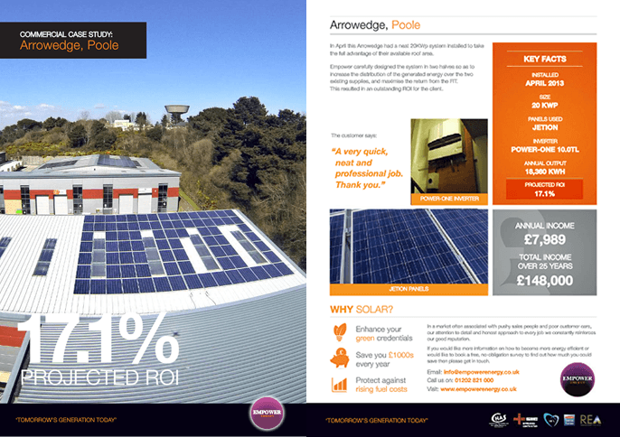 Solar panels for offices Arrowedge, Poole case study
