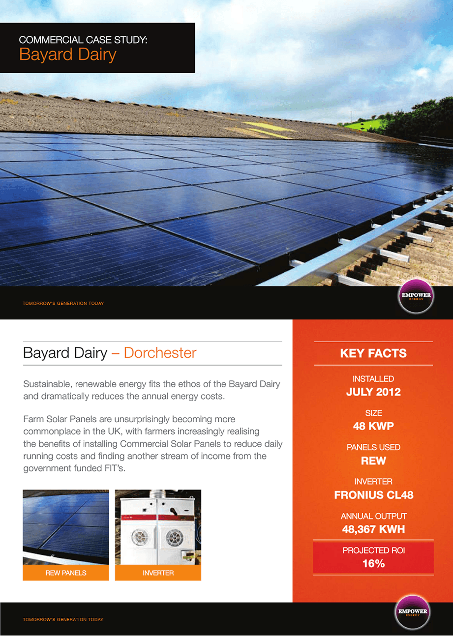 Solar panels for manufacturing companies Bayard Dairy case study