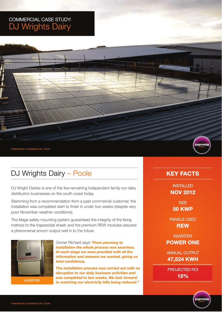 DJ Wrights Dairy solar panels for  manafacturing companies case study