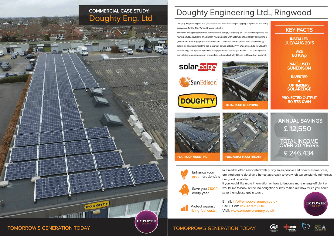 Commercial Solar Case Studies Panel Wiring Leader In Manufacturing Of Rigging Suspension And Lifting Equipment For The Film Tv Industry Empower Installed A 60kw System Over Two Buildings