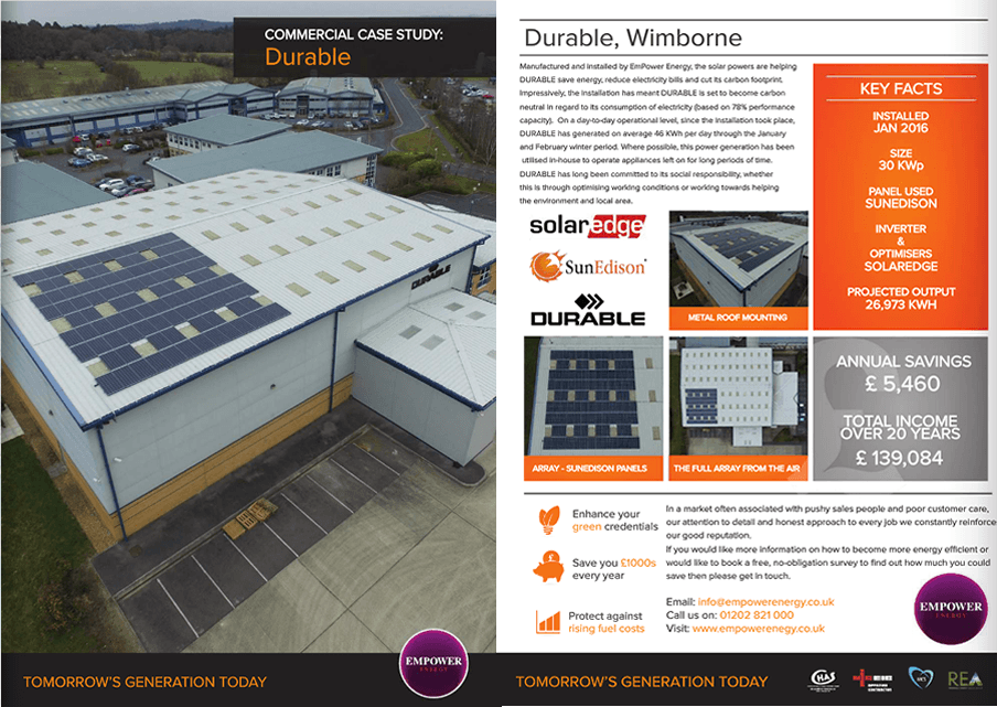Commercial Solar Installers Durable Case Study
