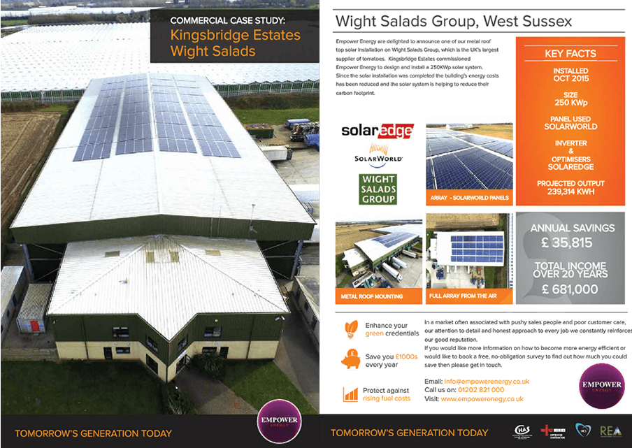 As Leading Solar Panel Installer West Sussex We Installed 250 KWP At Wight Salads Group