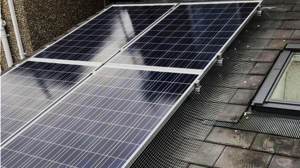 Pigeon netting for solar panels/ solar panel image