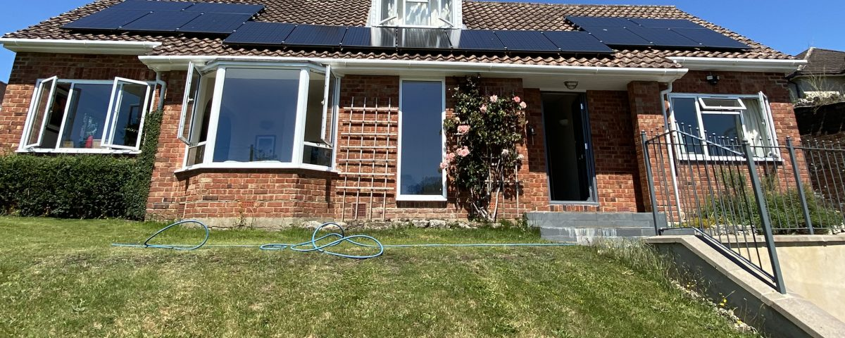 solar panel cleaning on roof