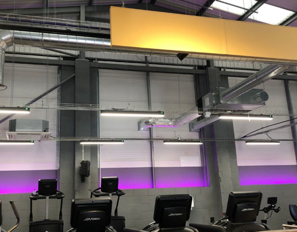 Led lighting installation for gym