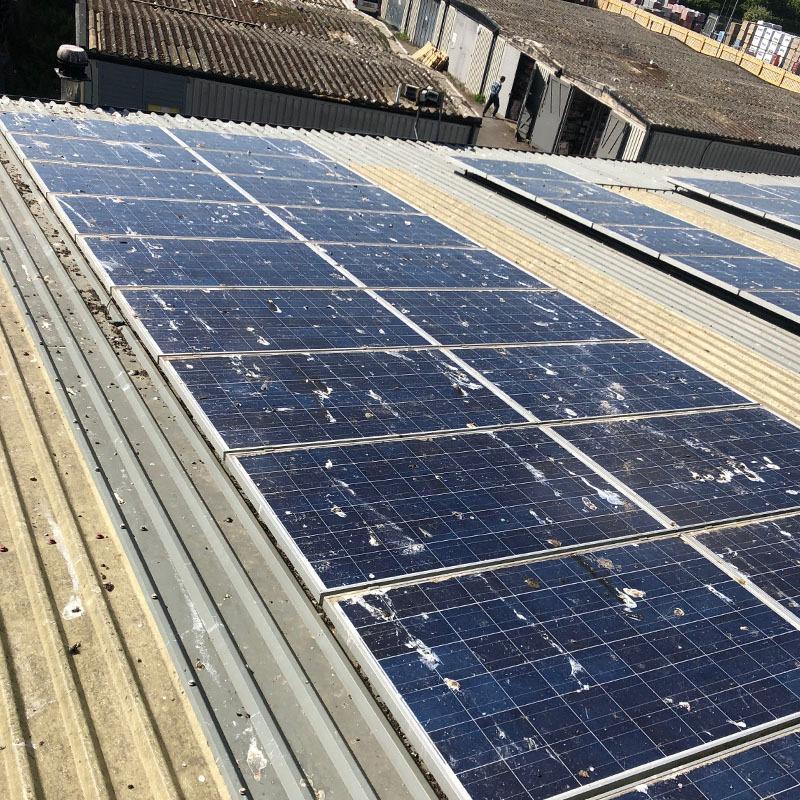 Solar panels before maintenance clean