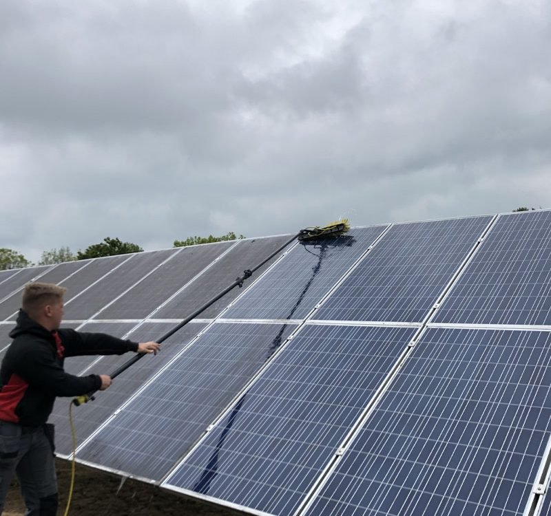 Solar panel clean on building
