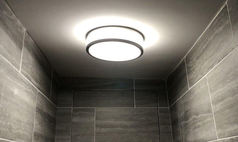 Led lighting install on bathroom ceiling