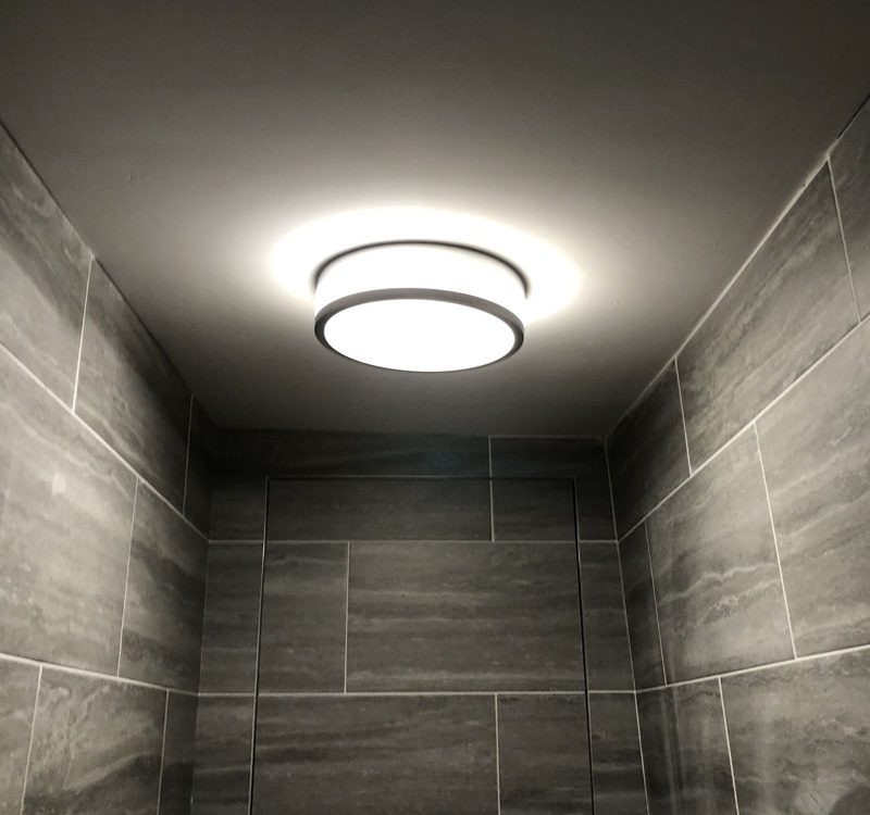 Led lighting install on bathroom ceiling