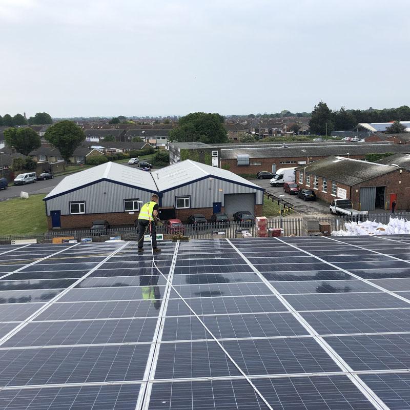 Solar panel maintenance on roof
