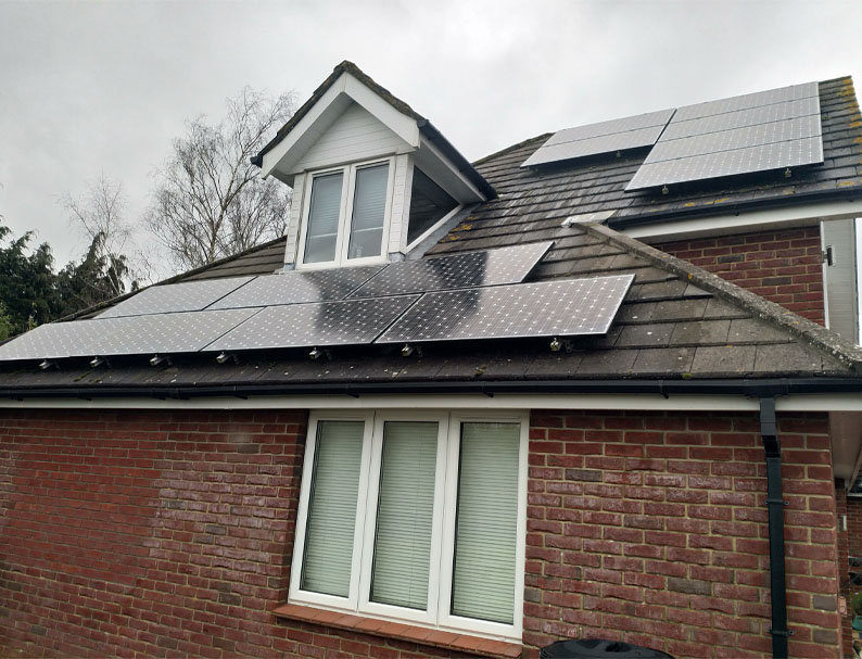 Domestic solar panel clean in hampshire