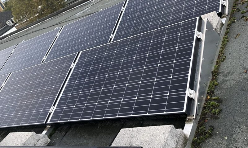 Solar panel on commercial panels