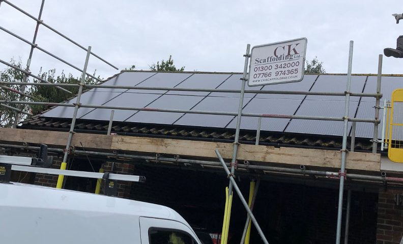 Solar installation at garage