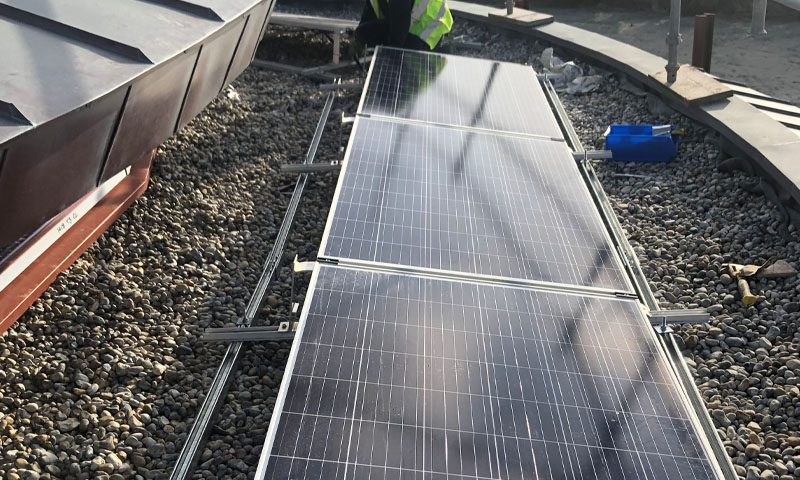Commercial solar panel install