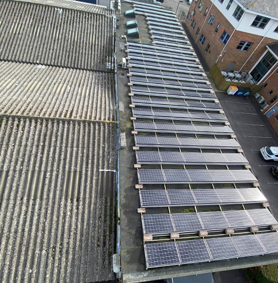 Commercial clean on solar panels