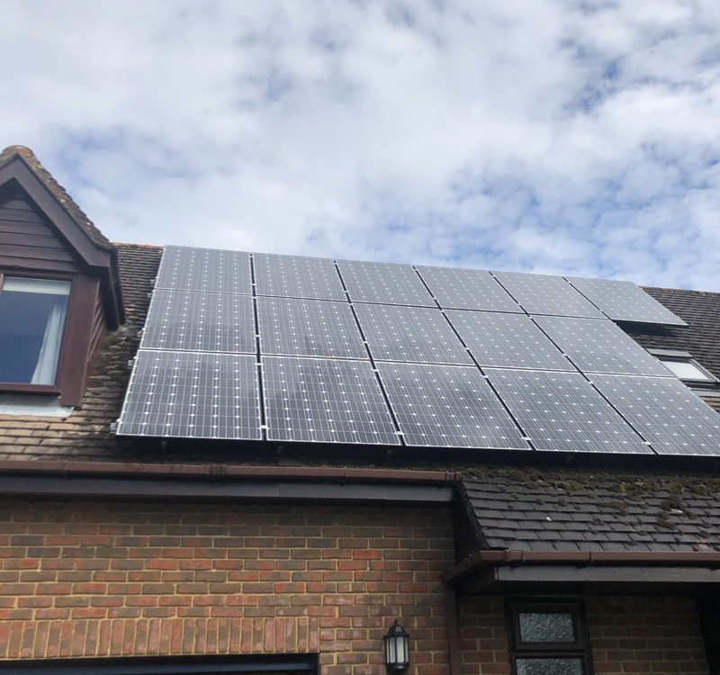Solar panel clean on roof