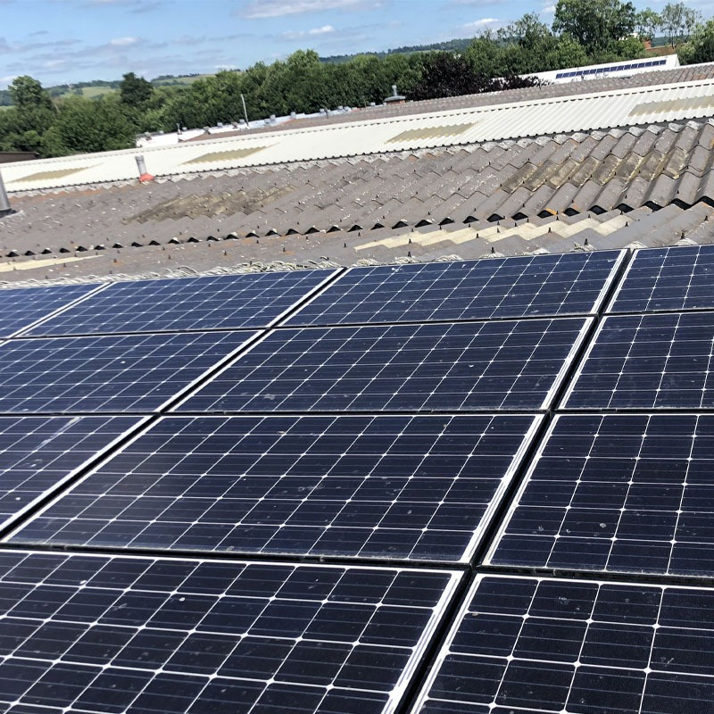 Commercial solar clean on roof panels