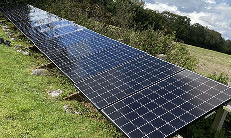 solar panel cleaning on ground mount