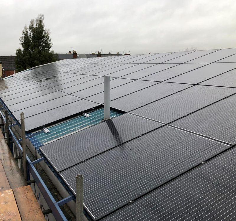 Solar installation on roof panels