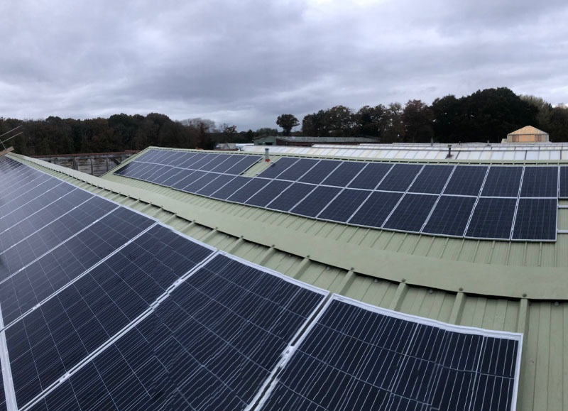 Solar installation on commercial roof