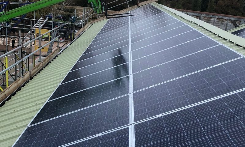 Commercial solar install on panels