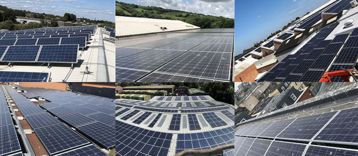 commercial solar panel collage