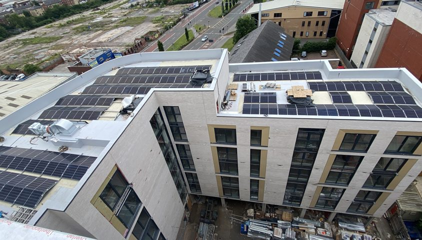 commercial solar install on roof