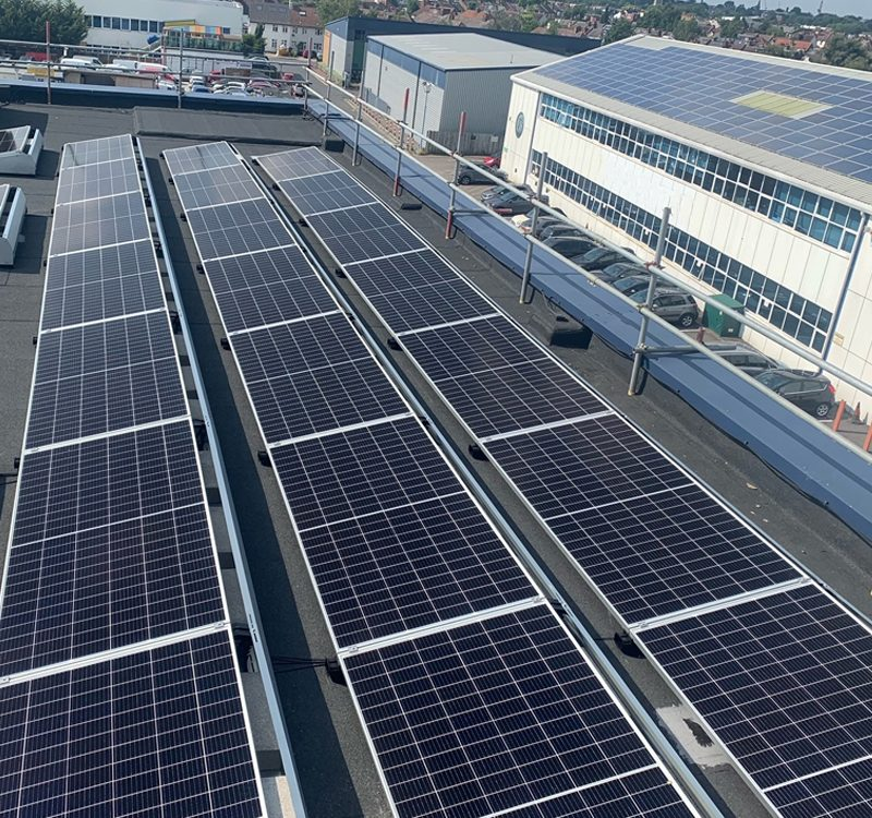 commercial panel installation on flat roof